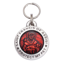 St Francis Pet ID Tag - Red