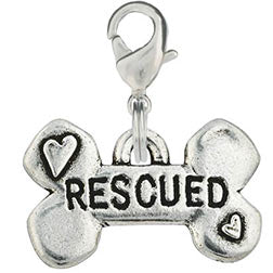 Pewter Hand Stamped Dog Charm - Rescued Bone