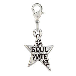 Pewter Hand Stamped Dog Charm - Soul Mate Star