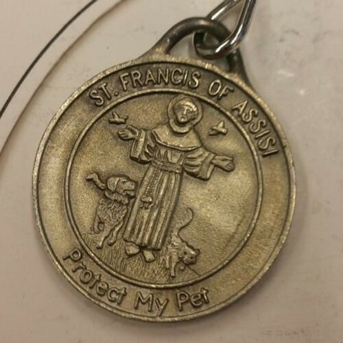 St. Francis Distressed Nickel Medal Featuring a Cat & Dog - Large