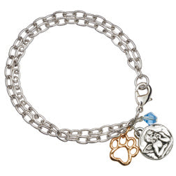 Angel Paw Charm Bracelet with Blue Crystal Bead