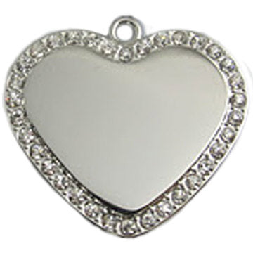 Crystal Heart Pet ID Tag
