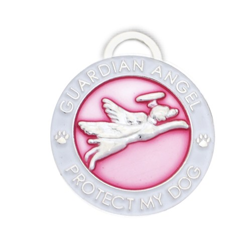Guardian Angel Pink Dog Pendant