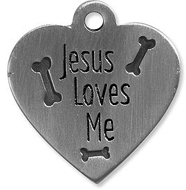 Jesus Loves Me Heart Pet Charm