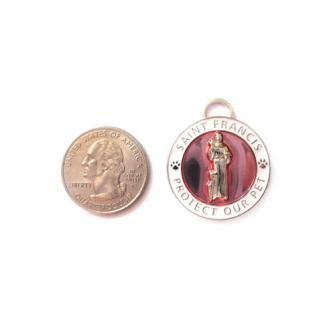 St Francis Pet Medal Silver & Pink - Large