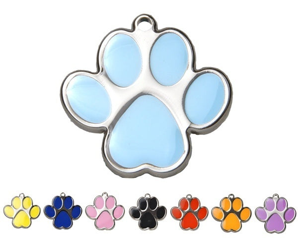 Steel and Enamel Engraved Paw Pet id tag