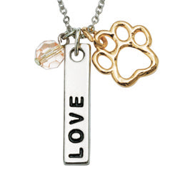 Paw Necklace -  Love Bar with Pink Crystal Bead