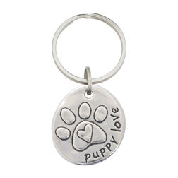 Pewter Paw Keychain - Puppy Love - Matching Necklace Available
