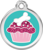 Glitter Cupcake with Bone Enamel Pet ID Tag