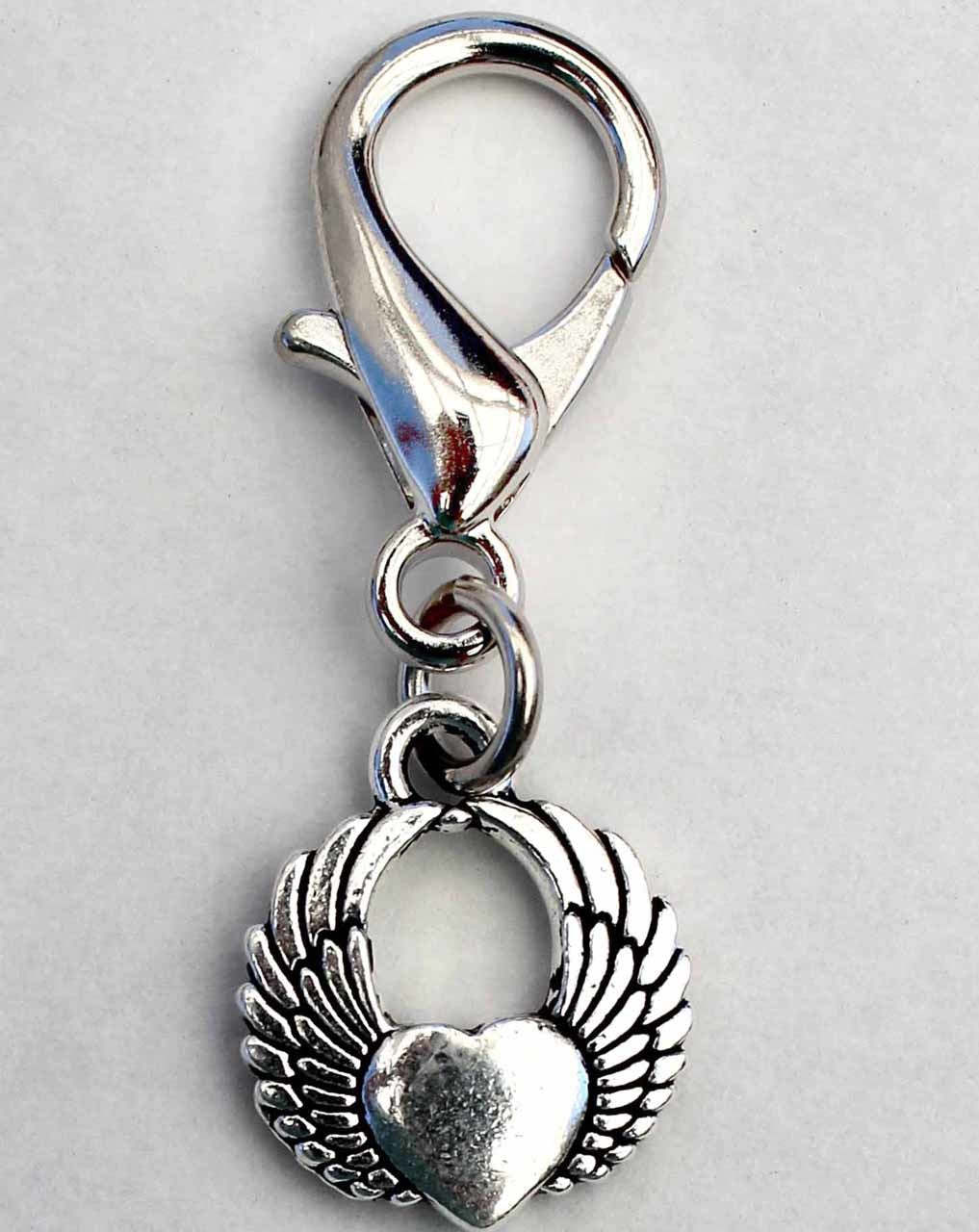 Winged Heart Collar Pet Charm