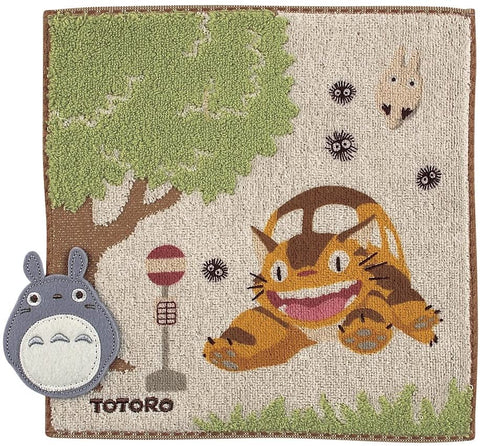 Totoro at Catbus Station Mini Towel: Studio Ghibli Goods Marushin