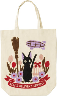"Kiki's Delivery Service ""Jiji in a field with Broom"" Tote Bag: Studio Ghibli Goods Marushin"