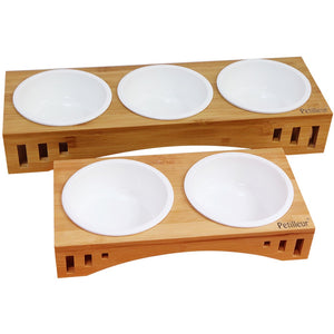 Cats & Dogs Bowls Raised Wooden Stand Pet Dining Table with Ceramic Bowls and Bamboo Stand for food