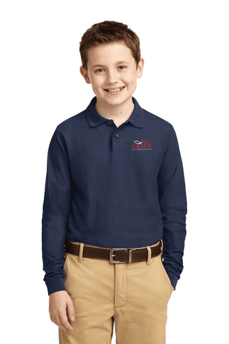 Navy Youth Long Sleeve Polo