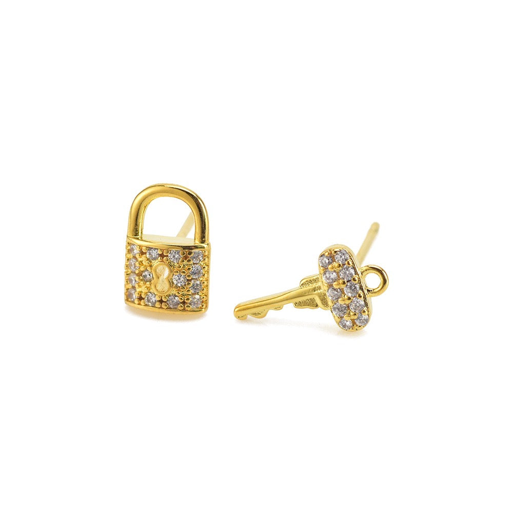 Stud Earrings- Lock & Key