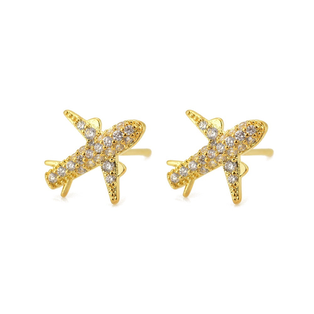 Stud Earrings- Airplane