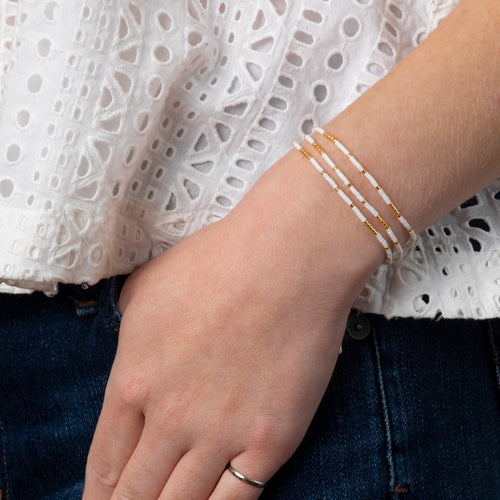 Triple Strand Bracelet - White/Gold