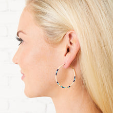 Load image into Gallery viewer, Baja Hoop Earring - Cream/Navy/light blue