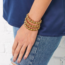 Load image into Gallery viewer, Gold Leopard Bubble Bracelet