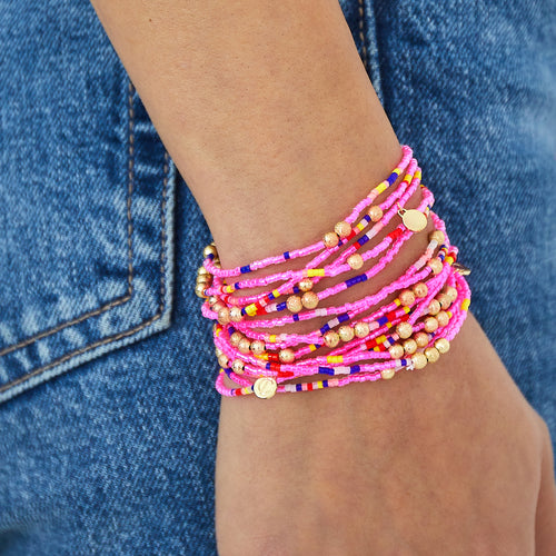 Malibu Wrap Bracelet/Necklace - Pink Multi/Gold