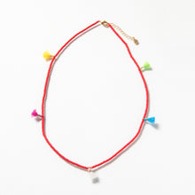 Load image into Gallery viewer, Tiny Tassel Necklace - Red
