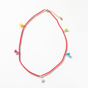 Tiny Tassel Necklace - Red