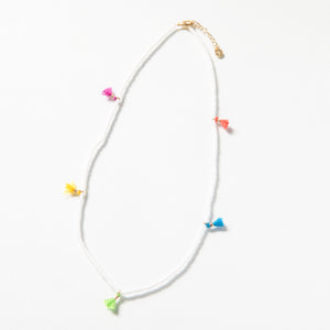 Tiny Tassel Necklace - White