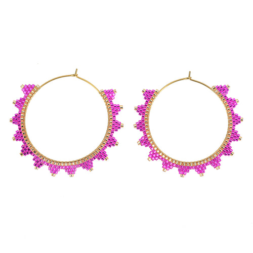 Kona Hoop Earring Hot Pink