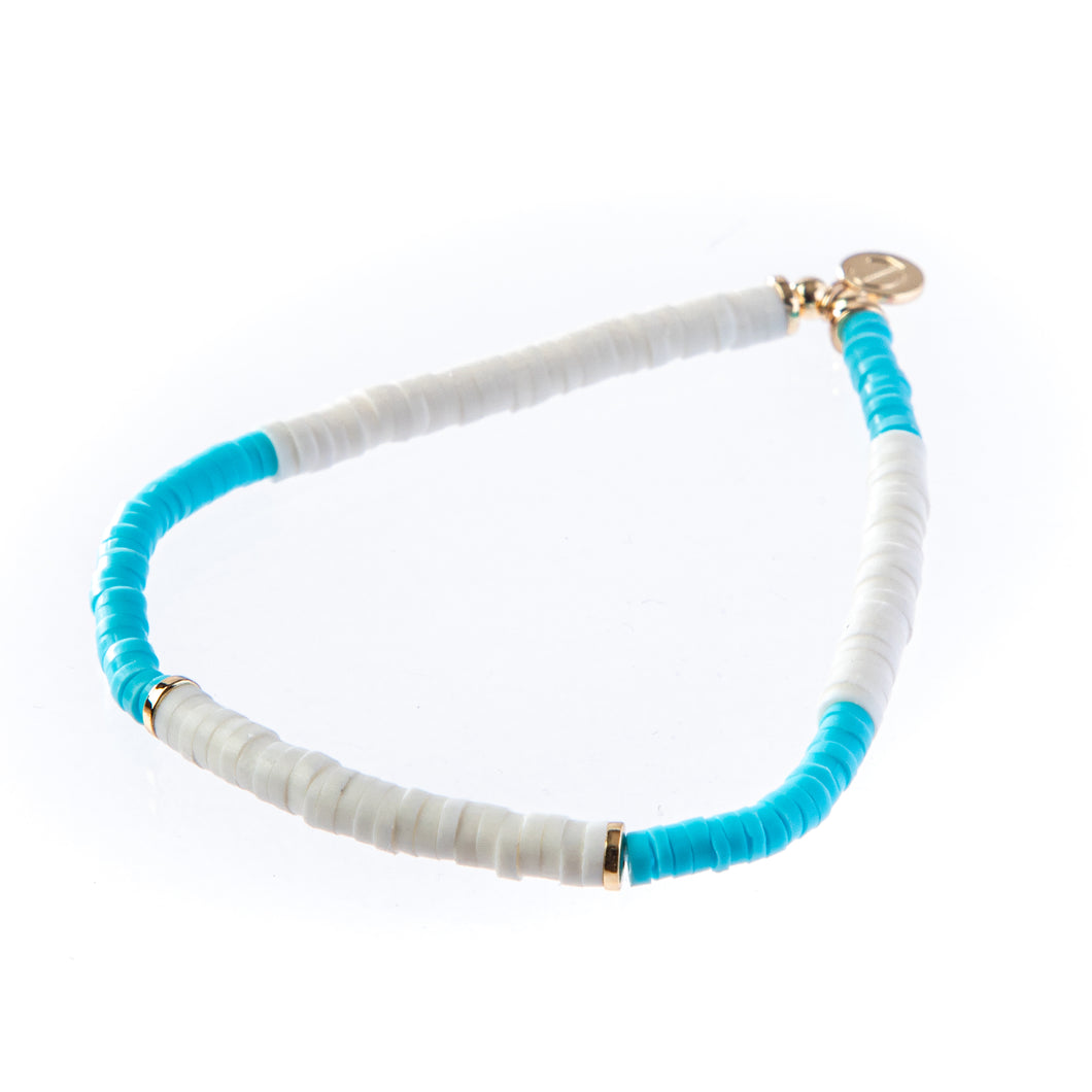 Seaside Skinny Bracelet- Turq/White