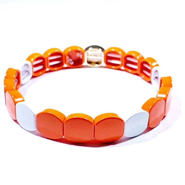 Tile Bracelet - Round Orange/White