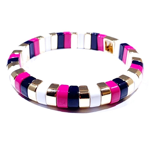 Tile Tube Bracelet - Striped Pink/Black/Gold