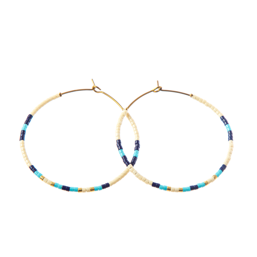 Baja Hoop Earring - Cream/Navy/light blue