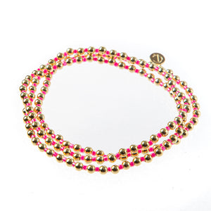 Bali Gold bead set of 3 - Pink
