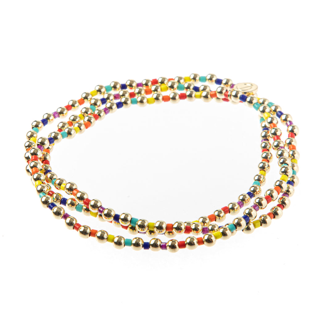 Bali Gold Bead Set of 3- Rainbow
