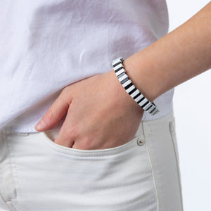 Tile Bead Bracelet - Black/White