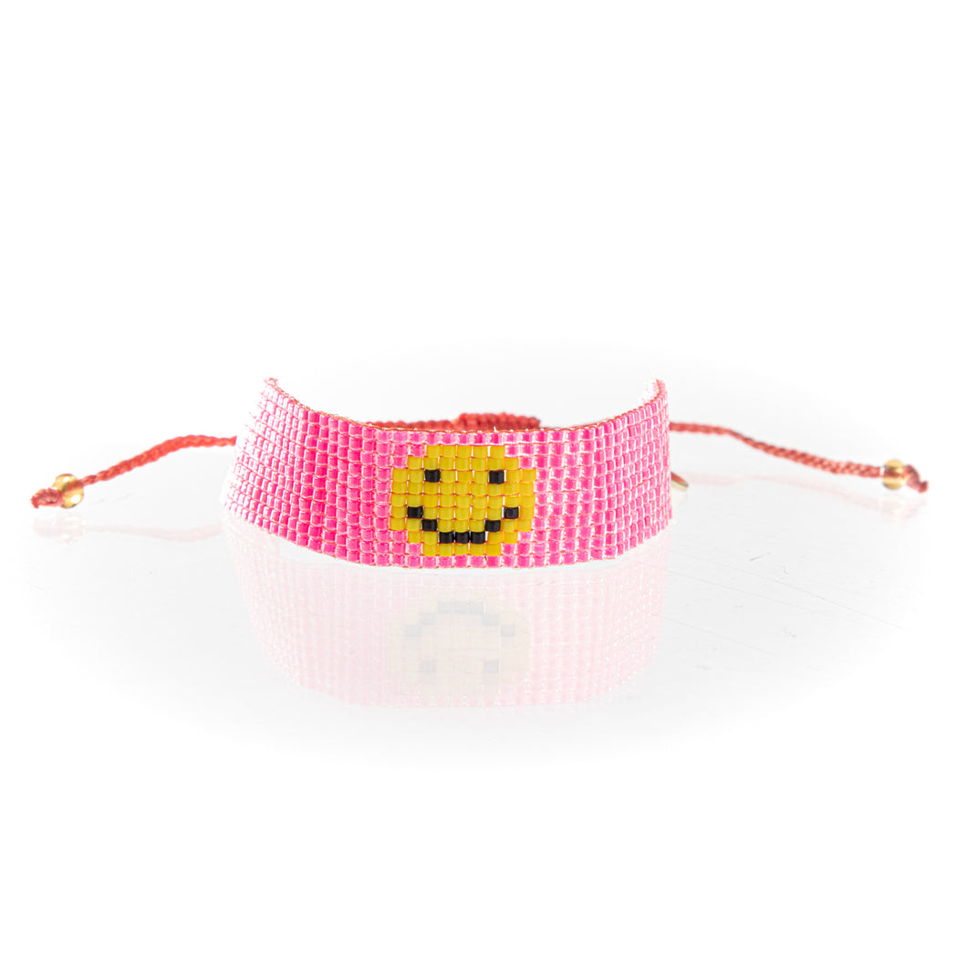 Smiley Face Seed Bead Friendship Bracelet