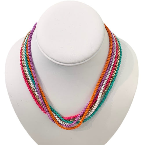 Enamel Chain Necklace - Hot Pink