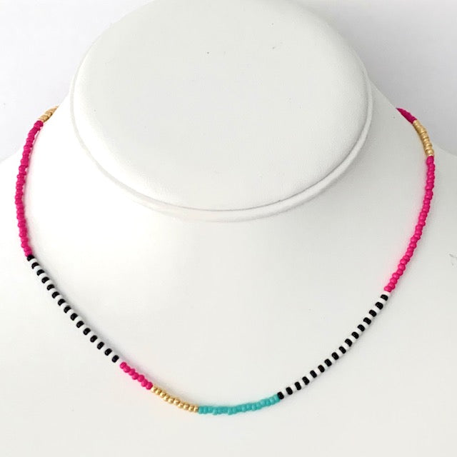 Seed Bead Necklace- Preppy Pattern