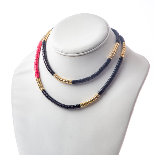 Long Laguna Necklace - Black/Pink/Gold