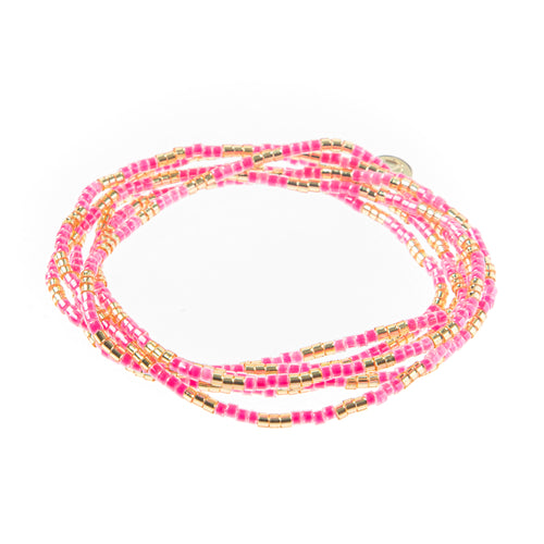 Malibu Wrap Bracelet/Necklace - Pink/Gold