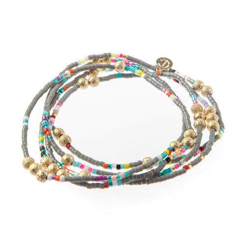 Malibu Wrap Bracelet/Necklace Grey Multi