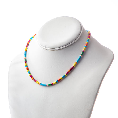 Tube Tile Necklace - Rainbow