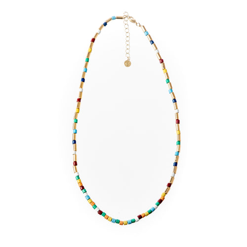 Tube Tile Necklace- Gold Rainbow
