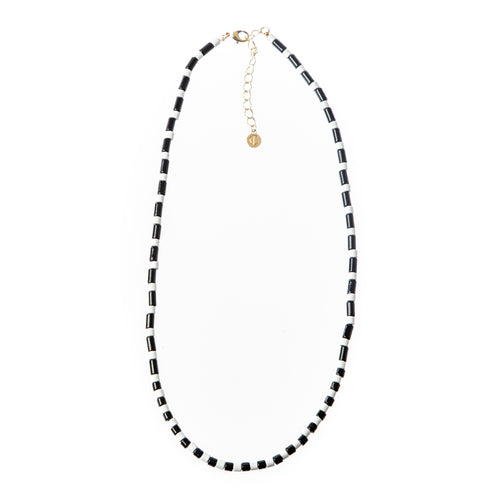 Tube Tile Necklace- Black/White