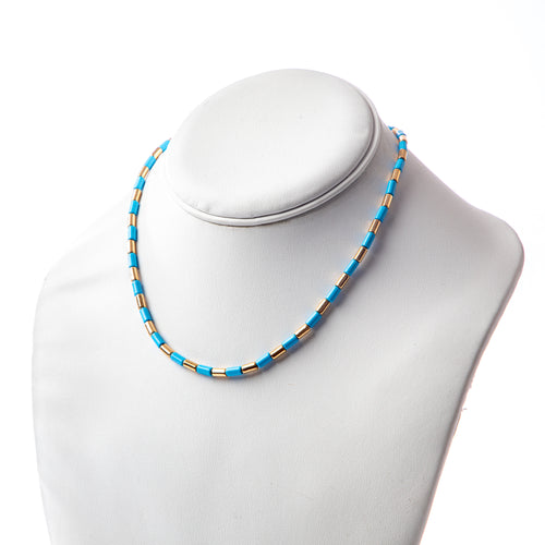 Tube Tile Necklace - Blue/Gold