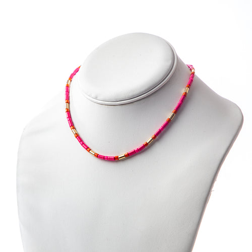 Tube Tile Necklace - Pink/Gold