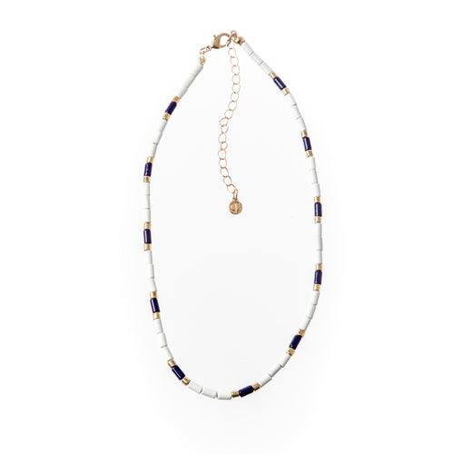 Tube Tile Necklace- Navy/White/Gold