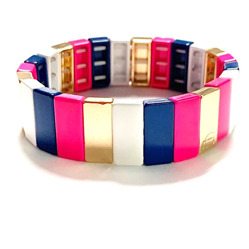 Tile Bead Bracelet - Preppy Stripe