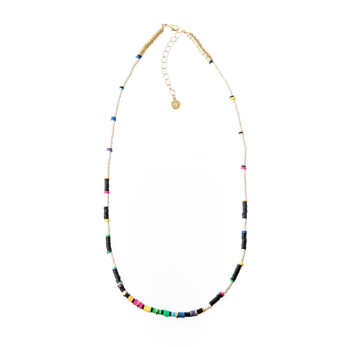Seaside Skinny Necklace- White Rainbow