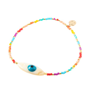 Rainbow Oval Evil Eye Stretch Bracelet